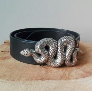CINTURÓN CUERO HEBILLA INTERCAMBIABLE serpiente